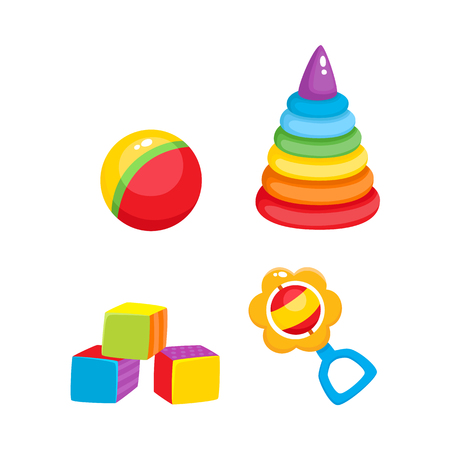 Set of vector baby toys in flat style. Cubic blocks, plastic pyramid , striped ball and rattle toy. Isolated illustration on a white background. Children education, growth and development concept.