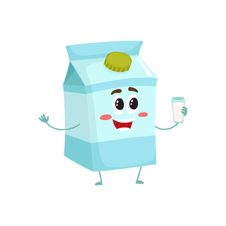 Funny milk box character with a shy smile, cartoon style vector illustration isolated on white background. Cute milk cardboard character with eyes, legs, and a wide smile Çizim