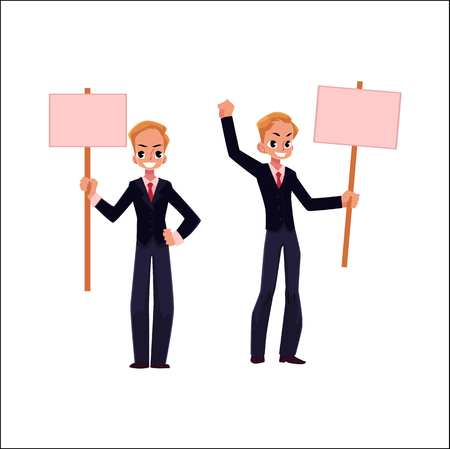 Vector office worker with empty blank pink banner set isolated illustration on a white background. Business emplyee character in glasses holds pink paper in hands. Business promotion template design Çizim