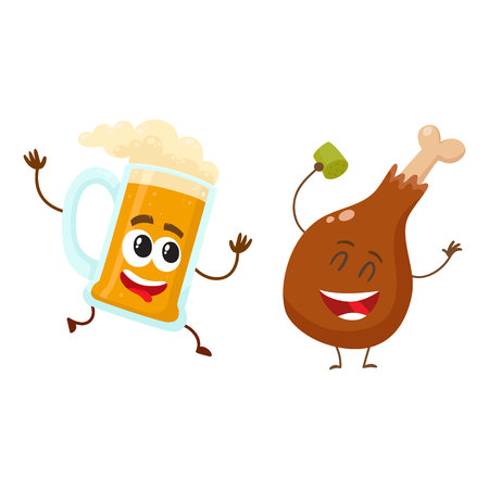 Funny beer mug and fried chicken leg characters having fun, cartoon vector illustration isolated on white background. Funny smiling beer mug and chicken leg, drumstick having party together Ilustração