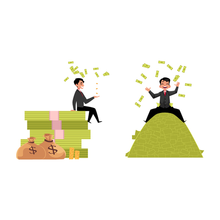 vector office worker lying , sitting on money pile set. Flat cartoon isolated illustration on a white background. Happy smiling man character. Money success profit and richness concept
