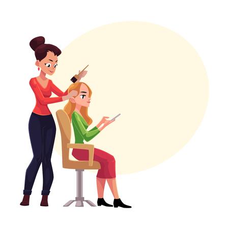 美容師金髪女性一方、スマート フォンを使用してテキストのためのスペースを持つ漫画ベクトル図の長い髪を染めたします。美容室女髪の色素を適  イラスト・ベクター素材