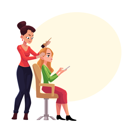 Hairdresser dying long hair of blond woman who uses smartphone meanwhile, cartoon vector illustration with space for text.Hairdresser woman dying hair for her client, applying hair dye Ilustrace