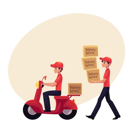 El mensajero lleva la pila de cajas, entregando paquetes en scooter, motocicleta, ilustración vectorial de dibujos animados con espacio para texto. Retrato de cuerpo entero del hombre del servicio de entrega en el trabajo Foto de archivo - 84556150