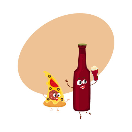 Funny beer bottle and yummy pizza slice characters having fun, cartoon vector illustration with space for text. Funny smiling beer bottle and pizza, fast food restaurant, good company