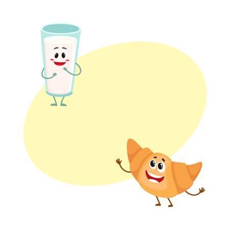 Funny smiling glass of milk and croissant characters, perfect beakfast combination, cartoon vector illustration with space for text. Cute, funny milk glass and croissant, roll bun characters