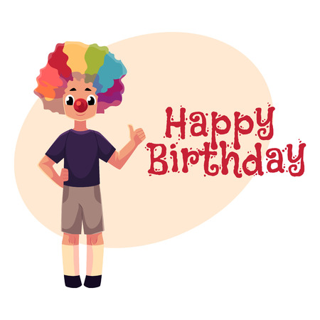 Happy birthday vector greeting card, poster, banner design with Little boy wearing clown nose and rainbow colored wig showing thumb up. Full length portrait of boy wearing clown red nose and wig
