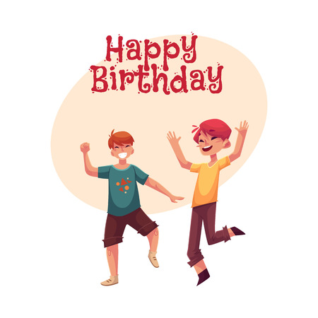Happy birthday vector greeting card, poster, banner design with Two funny boys, kids having fun, dancing at party. Happy boys dancing, jumping at a kids, birthday party, having fun Ilustração