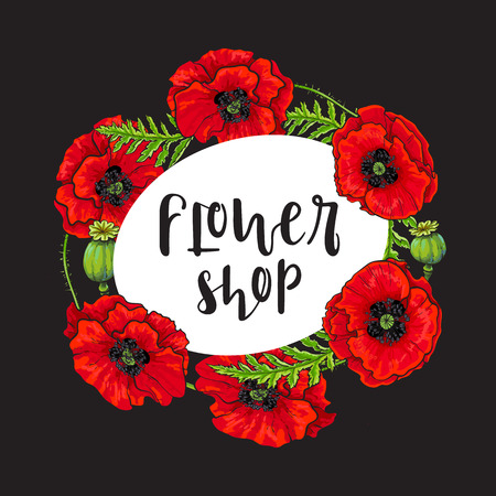 Vector red poppy flower blooming flower shop template. Illustration on a black background. Realistic hand drawn blossom with stem and leaves. Floral design framed banner object. Illustration