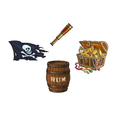 vector cartoon pirates symbols set isolated iilustration on a white background. Skull and cross bones jolly roger flag, treasure chest full of gold, rum barrel, spyglass sail telescope Illustration