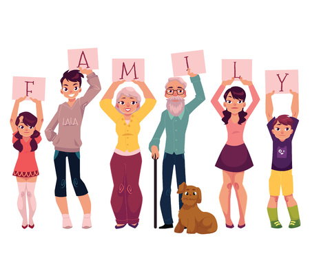 Grandparents and grandchildren holding boards with letters of word FAMILY, cartoon vector illustration on white background.