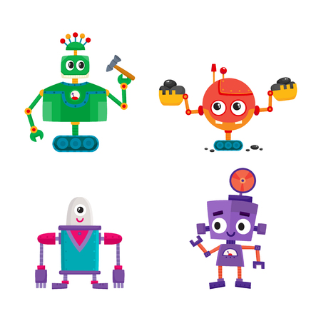 vector flat cartoon funny repairing robots set. Cute humanoid male characters with wrench, hummer ladle - arms and wheel, crawler track - legs smiling. Isolated illustration on a white background. 向量圖像