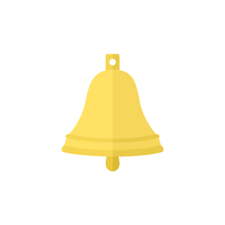 Simple brass, golden ship bell, flat cartoon vector illustration isolated on white background. Flat cartoon vector illustration of simple ship bell