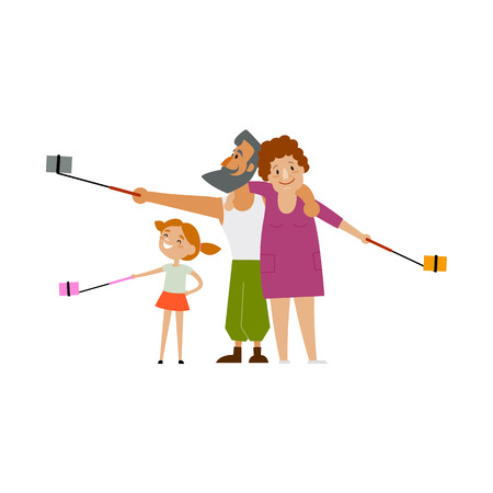 Father, mother and daugther, kid make selfie, every family member with own phone and monopod, flat style cartoon vector illustration isolated on white background. Family making selfie with many phones