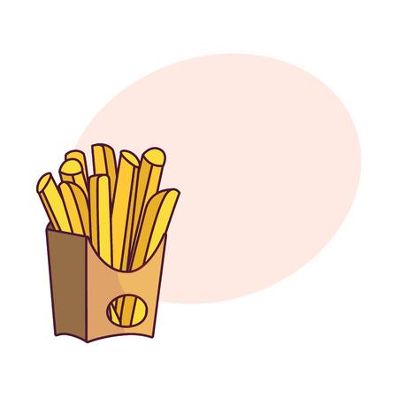 벡터 감자 튀김, 종이 상자에 감자 튀김. 흰색 배경에 평면 만화 격리 된 그림. 연설 거품과 함께 맛있는 패스트 푸드 일러스트