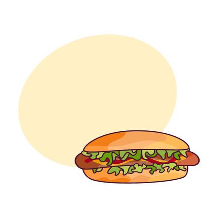 Hotdog der Vektorwurst mit Salat und Gemüse. Flache Karikatur des Schnellimbisses lokalisierte Illustration auf einem weißen Hintergrund. frisches Sandwich mit Sauce und Salat mit Sprechblase Standard-Bild - 84777697