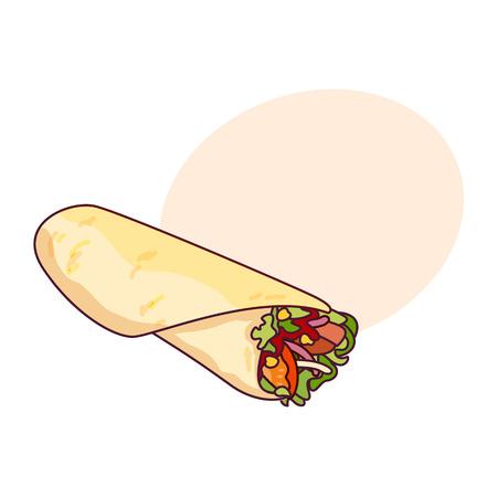 Vector de pollo, rollo de verduras, comida rápida. Doner gebab, shawarma ilustración de dibujos animados plana aislado en un fondo blanco con burbuja de discurso Foto de archivo - 84777695