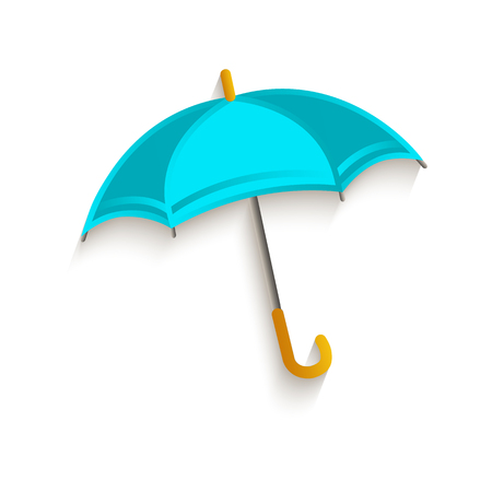 vector cartoon classic opened umbrella symbol. Isolated illustration on a white background. Autumn object concept Ilustrace