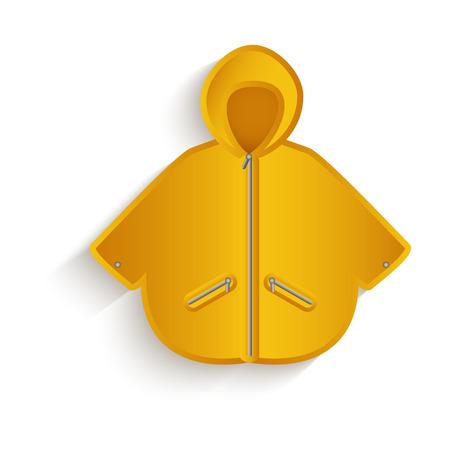 벡터 만화 비옷 노란색 색깔입니다. 흰색 배경에 고립 된 그림입니다. 가을 개체 개념