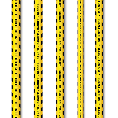 vector yellow black police tape set. Flat cartoon isolated illustration on a white background. Yellow danger tape with black stripes enclosing for forencics, investigators. Illusztráció