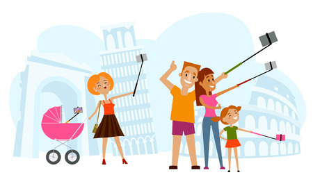 Father, mother and kid making selfie in Italy with Tower of Pisa and Coliseum of Rome on background, flat style cartoon vector illustration. Family making selfie with many phones on vacation in Italy Ilustrace