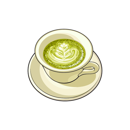 vector sketch cartoon hand drawn cup of whipped green mathca coffee on a plate top view. Isolated illustration on a white background. Illustration