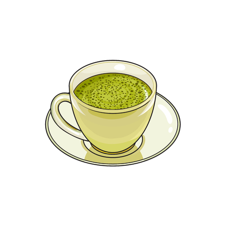 vector sketch cartoon hand drawn cup of whipped green mathca tea on a plate side view. Isolated illustration on a white background. Traditional tea ceremony attribute, symbol