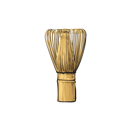 vector sketch cartoon wooden bamboo whisk. Isolated illustration on a white background. Traditional japanese tool for preparing special matcha tea for meditation ceremonies.