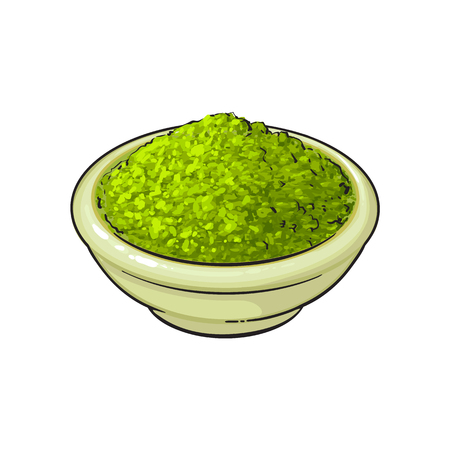 vector sketch cartoon hand drawn ceramic bowl of green mathca tea powder top view. Isolated illustration on a white background. Traditional tea ceremony attribute, symbol