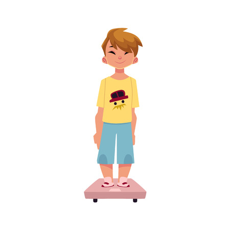 Boy, kid, child standing still on weight scale, medical examination, health check concept, cartoon vector illustration isolated on white background. Teenage boy, kid, child, standing on weight scale Stock Vector - 84777719
