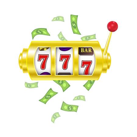 vector flat cartoon gambling lucky triple seven Jackpot, golden slot mashine with dollar rain around. Isolated illustration on a white background. Sign of profit easy money. bingo casino design poster