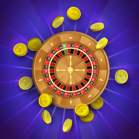 vector flat cartoon american, european roulette wheel with golden coins around. illustration on a blue background. Sign of profit, easy money. Casino, gambling games design poster