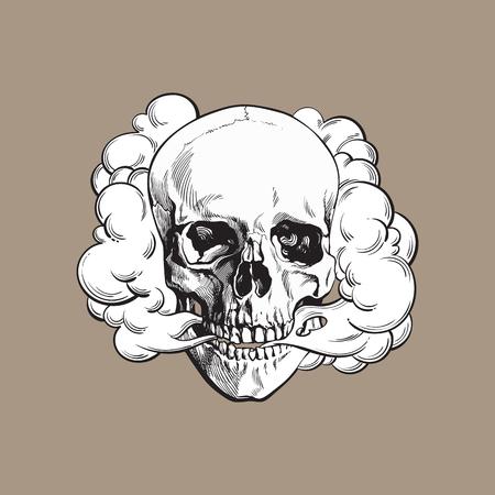 살없는 두개골, 죽음, 필사자 습관 개념, 흑백 스케치 스타일 벡터 일러스트 컬러 배경에 고립에서 나오는 연기. 일러스트