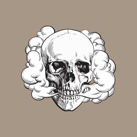 Smoke coming out of fleshless skull, death, mortal habit concept, black and white sketch style vector illustration isolated on color background.