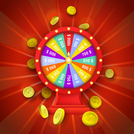 vector flat cartoon lucky wheel of fortune with golden coins around. Illustration on a red background. Sign of profit, easy money. Casino, gambling games design poster