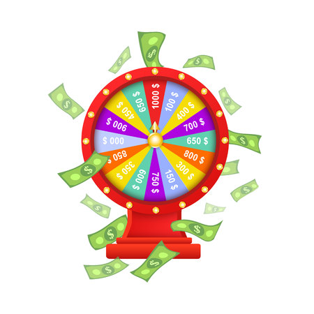 vector flat cartoon gambling lucky wheel of fortune with dollar rain around. Isolated illustration on a white background. Sign of profit, easy money. Jackpot, bingo casino design poster