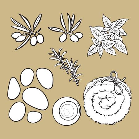 Set of spa salon accessories - basalt stones, massage oil, towel, candles, aromatic salt, black and white outline sketch vector illustration on color background.