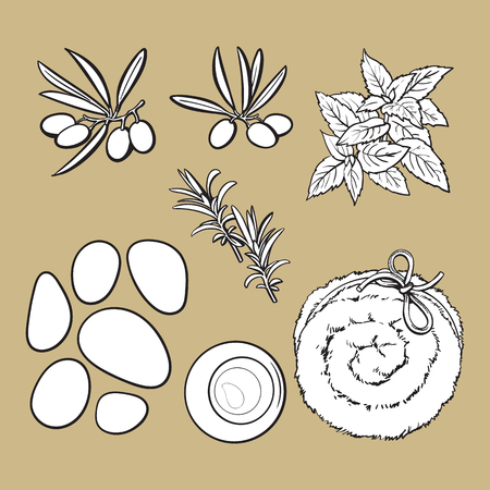 Set of spa salon accessories - basalt stones, massage oil, towel, candles, aromatic salt, black and white outline sketch vector illustration on color background.