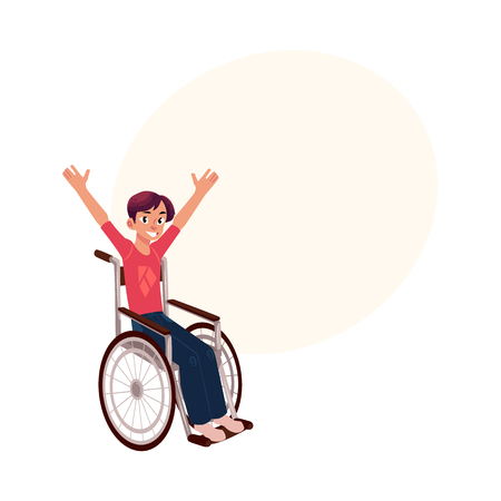 リハビリテーションの概念、幸福の手を上げる、車椅子に座っている若い男漫画の本文のスペースのベクトル図です。車椅子で若い男を笑って幸せ  イラスト・ベクター素材