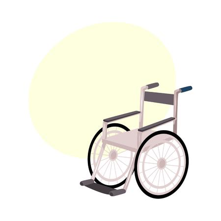 Medische revalidatie, herstel na trauma, geen behoefte meer aan rolstoel of krukken, cartoon vectorillustratie met bellentoespraak. Rehabilitatie, herstel na rolstoel, krukken