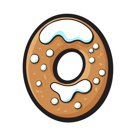 유약 된 0, 0 숫자 모양의 수 제 크리스마스 생강 빵 쿠키, 흰색 배경에 고립 된 벡터 일러스트 레이 션을 스케치합니다. 장식 된 크리스마스 유리 진저