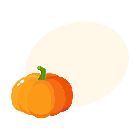 Cute cartoon pumpkin, Halloween, thanksgiving symbol, decoration element, cartoon vector illustration with space for text. Shiny orange pumpkin, cartoon style Halloween decoration element