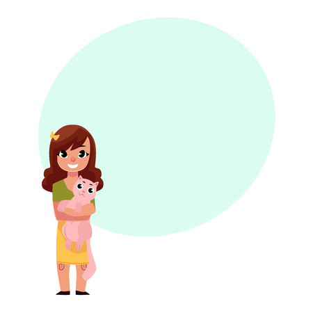 Little girl, child kid standing, holding a cat, smiling happily, cartoon vector illustration with space for text. Full length portrait of little smiling girl holding, hugging big cat