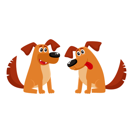 Two funny sitting dog characters, one talking, another listening with tongue out, cartoon vector illustration isolated on white background. Couple of funny sitting dog characters Illustration