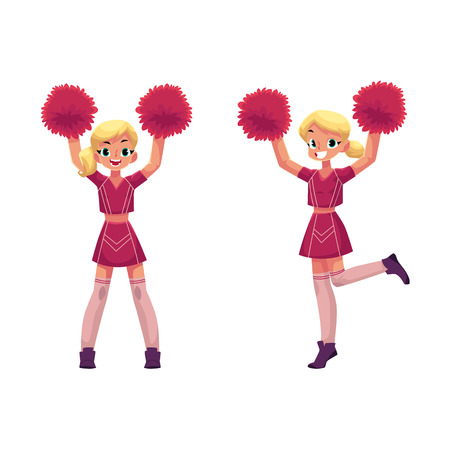 vector cartoon smiling cheerleader blond girls character dancing with pom-poms raising hands up set. Isolated illustration ona white background.