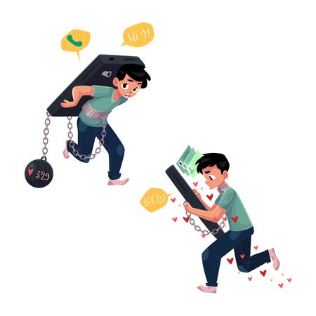 Tiener geketend aan, die reusachtige smartphone, telefoonafhankelijkheid, beeldverhaal vectordieillustratie dragen op witte achtergrond wordt geïsoleerd. Jongen vastgeketend aan, met enorme telefoon, niet in staat om te stoppen met chatten