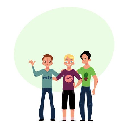 Male friendship concept two couple of boys, men, best friends hugging each other, cartoon vector illustration with space for text. Boys, men, friends standing and hugging each other Illustration