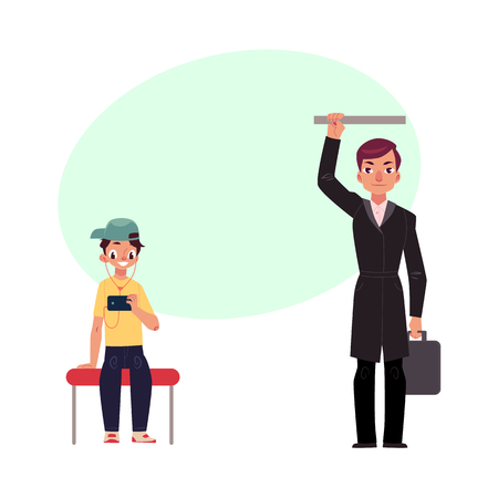 Businessman holding briefcase in subway, standing and holding handrail, young boy sits staring at phone, studen cartoon vector illustration with space for text. Ilustração