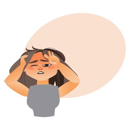 Woman having severe headache, migraine, cartoon vector illustration isolated on white background with speech bubble Illustration