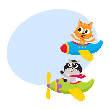 greet: Cute funny animal pilot characters flying on airplane - cat and raccoon, cartoon vector illustration with space for text. Little baby cat and raccoon characters flying on airplane